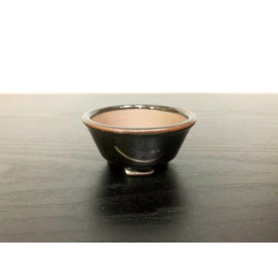 "Photo1: Satsuma Ware ""Black Satsuma"" / Golden Ji ""Kin no Ji"" / Chin Jukan Bonsai Pot"