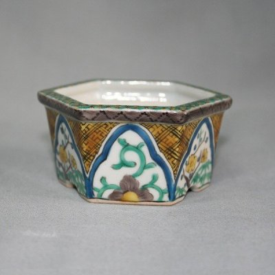 "Photo2: Kutani Ware Hexagon Pot ""Eisho"" Arabesque pattern / D75mm"