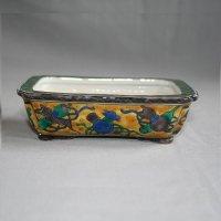 """Kutani Ware Rectangle Pot """"Eisho"""" Takara-Zukushi pattern / W145mm"""
