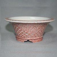 "Kutani Ware Round Pot ""Eisho"" Akae Komon pattern / D130mm"