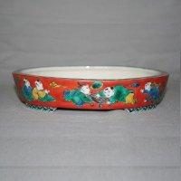 "Kutani Ware Oval Pot ""Eisho"" Karako pattern / W180mm"