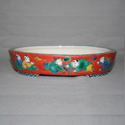 "Photo1: Kutani Ware Oval Pot ""Eisho"" Karako pattern / W180mm"