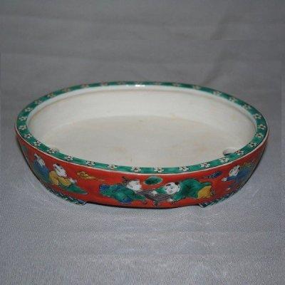 "Photo2: Kutani Ware Oval Pot ""Eisho"" Karako pattern / W180mm"